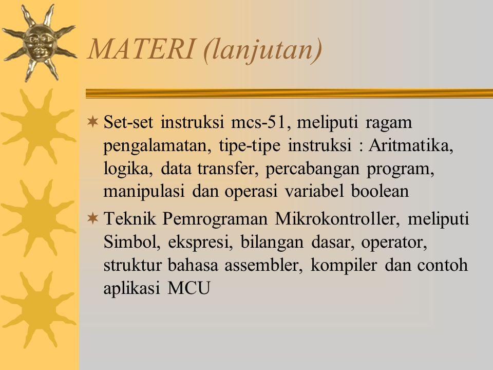 MATERI (lanjutan)  Set-set instruksi mcs-51, meliputi ragam pengalamatan, tipe-tipe instruksi : Aritmatika, logika, data transfer, percabangan progra