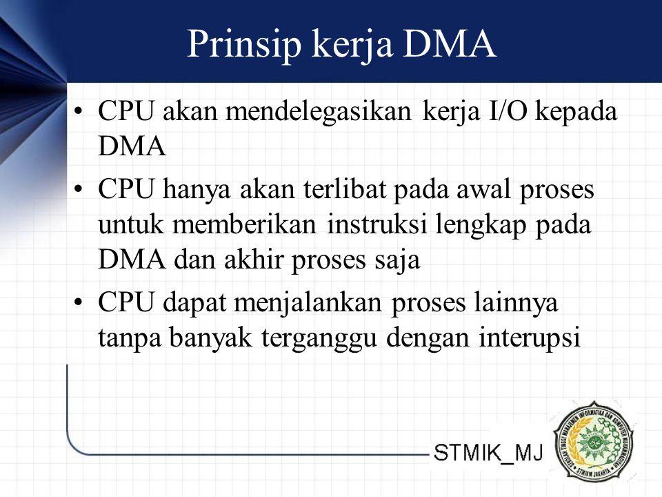 Prinsip kerja DMA CPU akan mendelegasikan kerja I/O kepada DMA CPU hanya akan terlibat pada awal proses untuk memberikan instruksi lengkap pada DMA da