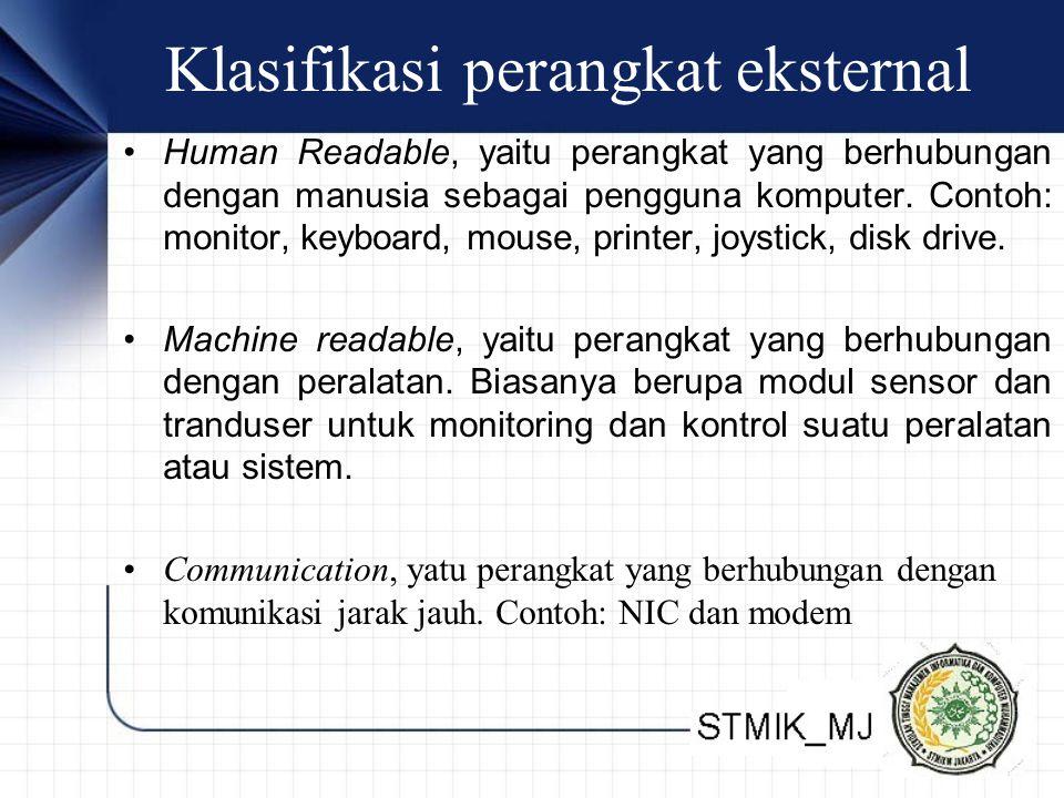 Klasifikasi perangkat eksternal Human Readable, yaitu perangkat yang berhubungan dengan manusia sebagai pengguna komputer.