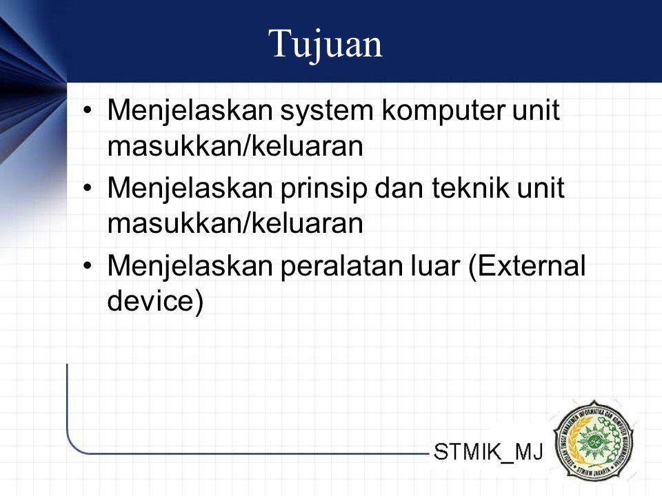 Tujuan Menjelaskan system komputer unit masukkan/keluaran Menjelaskan prinsip dan teknik unit masukkan/keluaran Menjelaskan peralatan luar (External device)