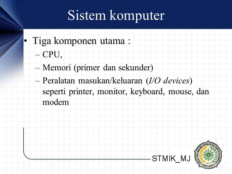 Sistem komputer Tiga komponen utama : –CPU, –Memori (primer dan sekunder) –Peralatan masukan/keluaran (I/O devices) seperti printer, monitor, keyboard