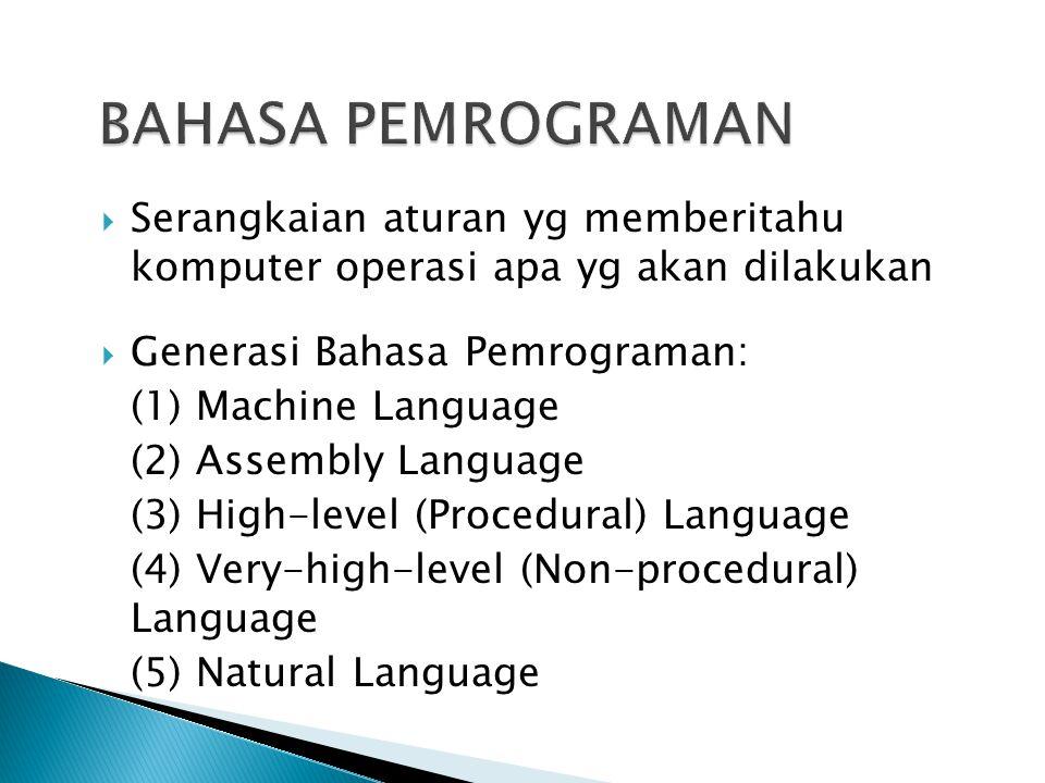  Serangkaian aturan yg memberitahu komputer operasi apa yg akan dilakukan  Generasi Bahasa Pemrograman: (1) Machine Language (2) Assembly Language (