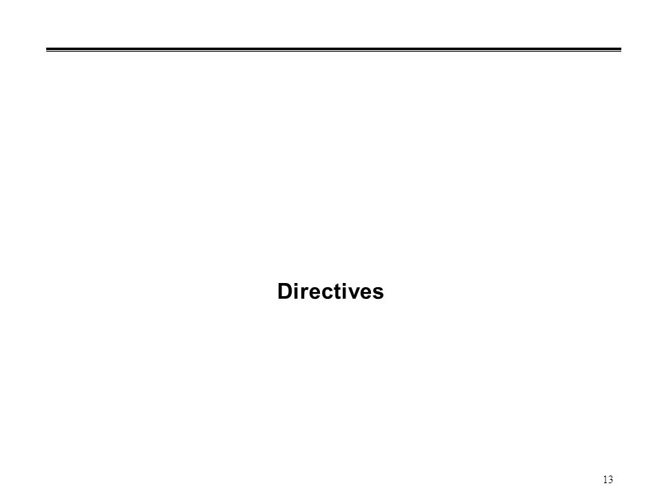 13 Directives