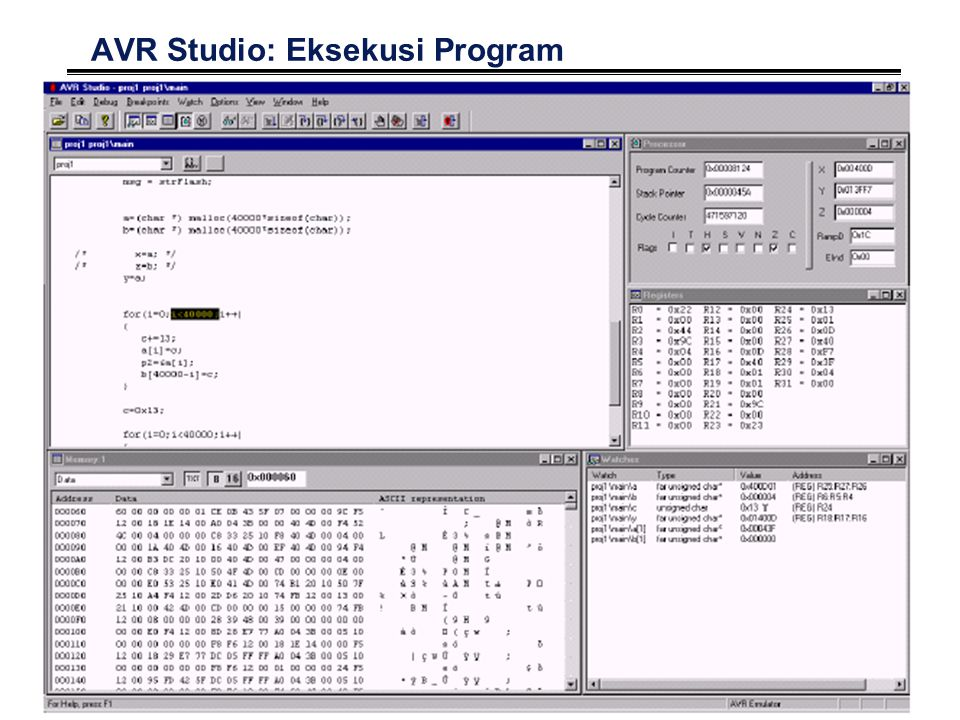 33 AVR Studio: Eksekusi Program