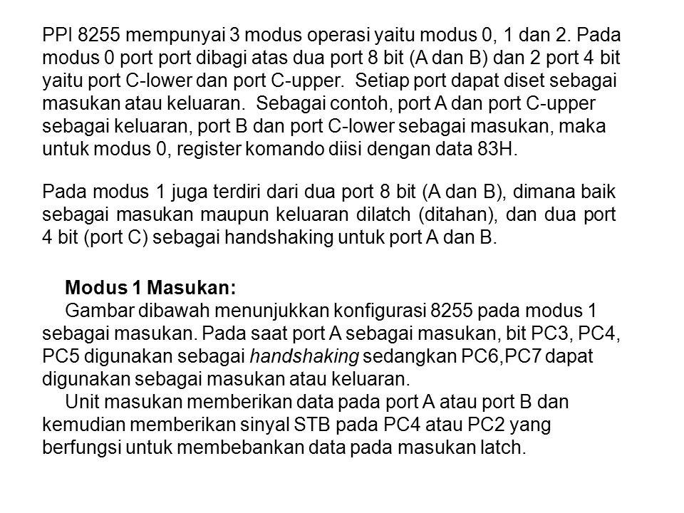 PPI 8255 mempunyai 3 modus operasi yaitu modus 0, 1 dan 2. Pada modus 0 port port dibagi atas dua port 8 bit (A dan B) dan 2 port 4 bit yaitu port C-l