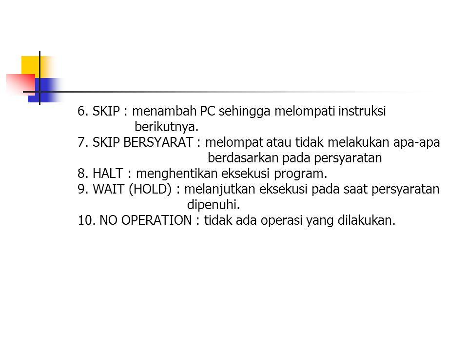 6.SKIP : menambah PC sehingga melompati instruksi berikutnya.