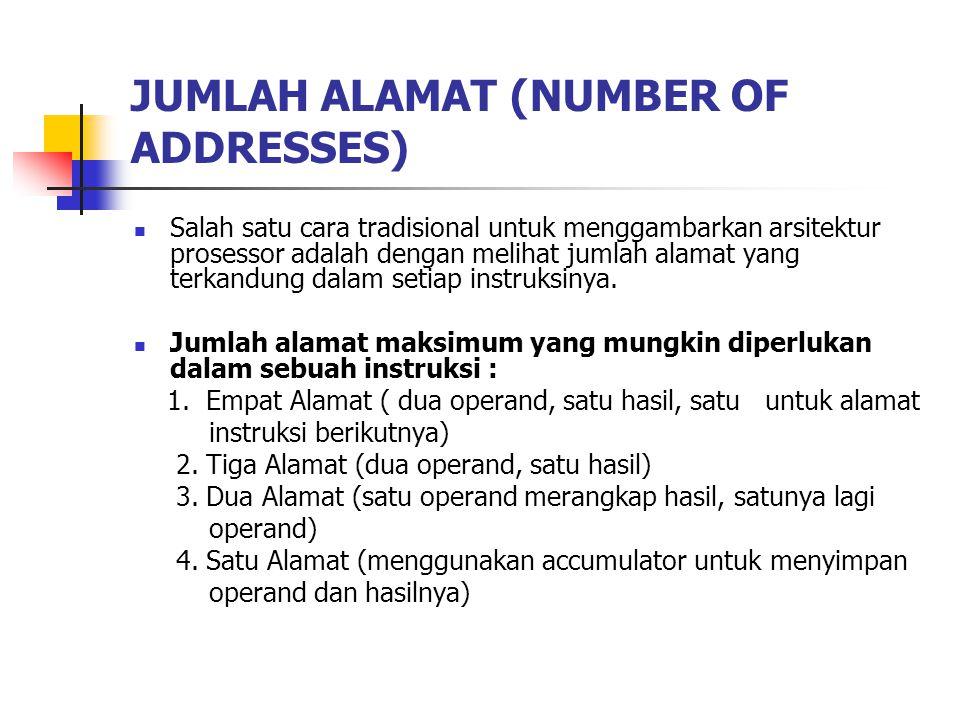 JUMLAH ALAMAT (NUMBER OF ADDRESSES) Salah satu cara tradisional untuk menggambarkan arsitektur prosessor adalah dengan melihat jumlah alamat yang terkandung dalam setiap instruksinya.