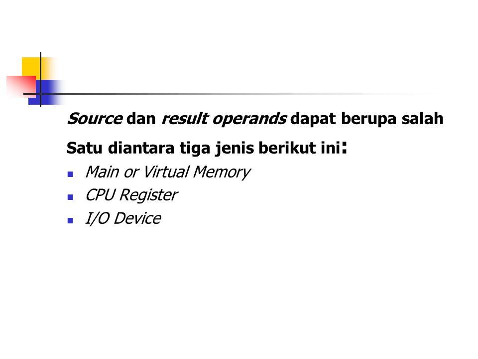 Source dan result operands dapat berupa salah Satu diantara tiga jenis berikut ini : Main or Virtual Memory CPU Register I/O Device