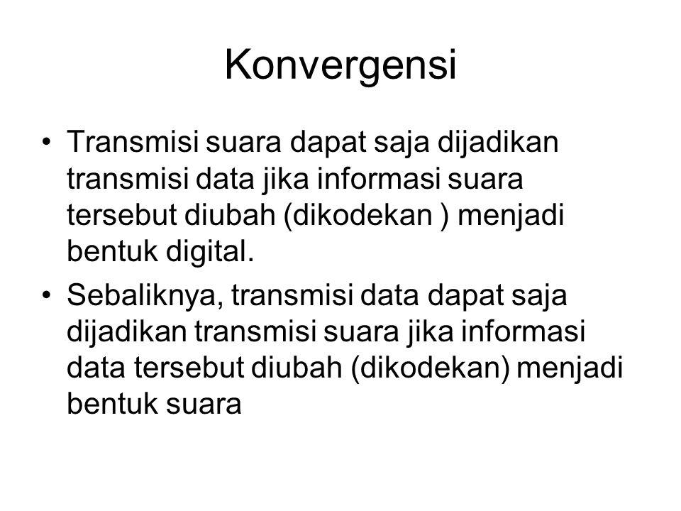 Konvergensi Transmisi suara dapat saja dijadikan transmisi data jika informasi suara tersebut diubah (dikodekan ) menjadi bentuk digital.