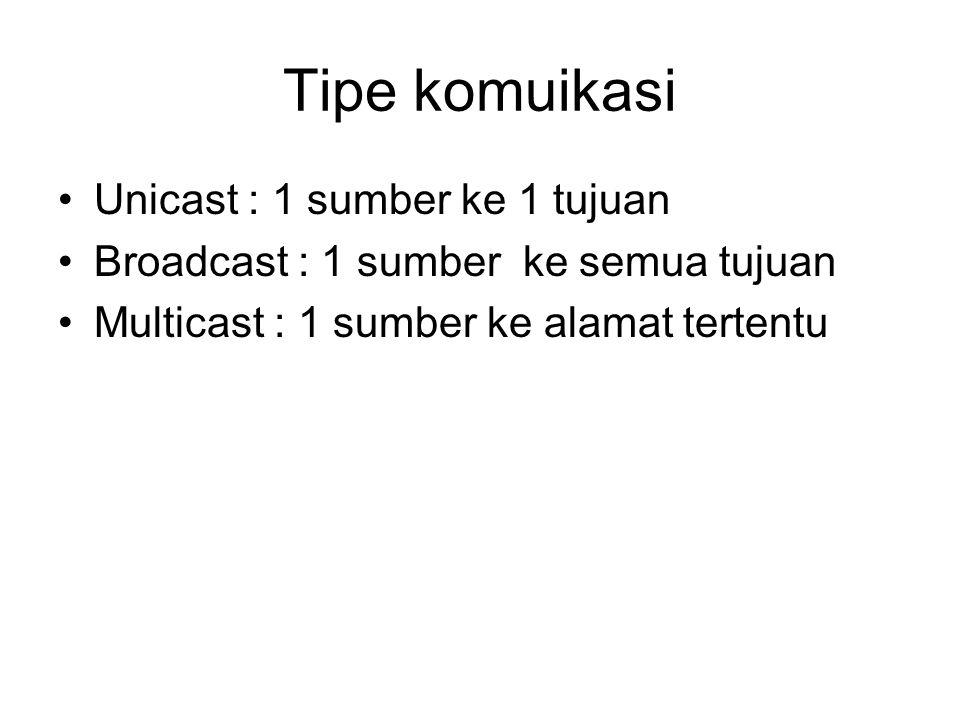 Tipe komuikasi Unicast : 1 sumber ke 1 tujuan Broadcast : 1 sumber ke semua tujuan Multicast : 1 sumber ke alamat tertentu