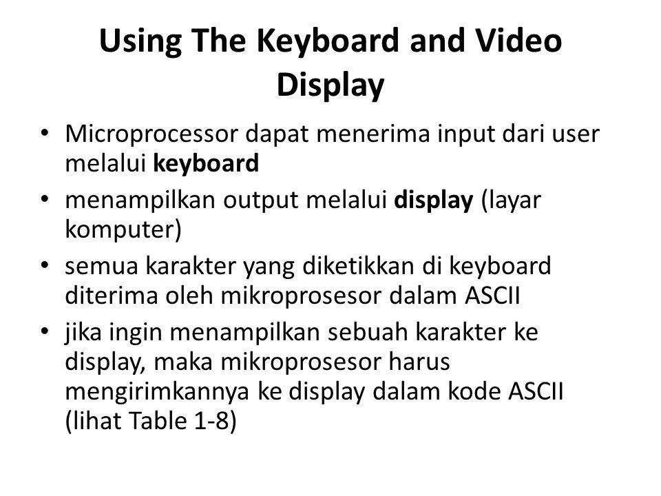Using The Keyboard and Video Display Microprocessor dapat menerima input dari user melalui keyboard menampilkan output melalui display (layar komputer