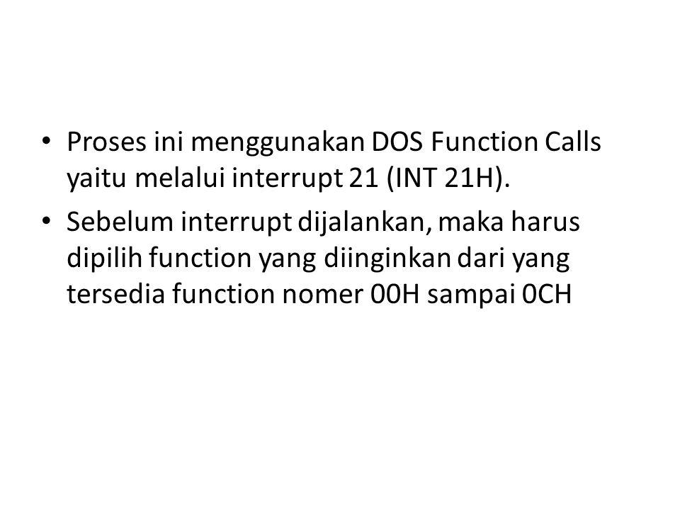 Proses ini menggunakan DOS Function Calls yaitu melalui interrupt 21 (INT 21H). Sebelum interrupt dijalankan, maka harus dipilih function yang diingin