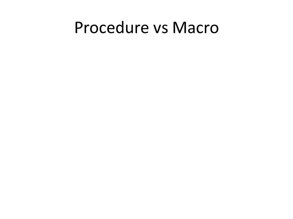 Procedure vs Macro