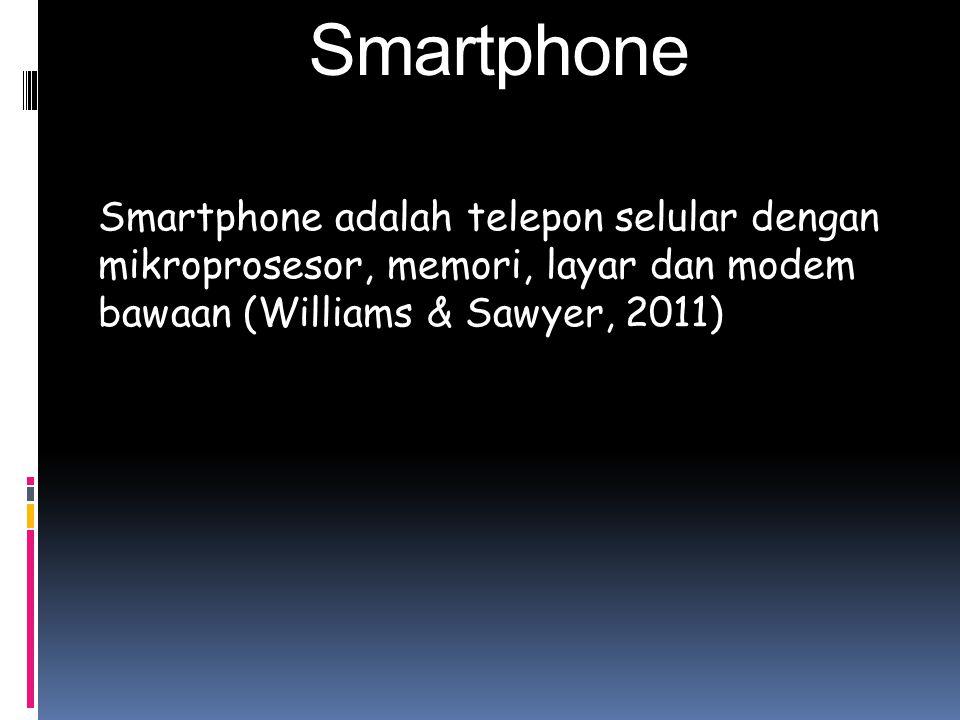 Smartphone Smartphone adalah telepon selular dengan mikroprosesor, memori, layar dan modem bawaan (Williams & Sawyer, 2011)