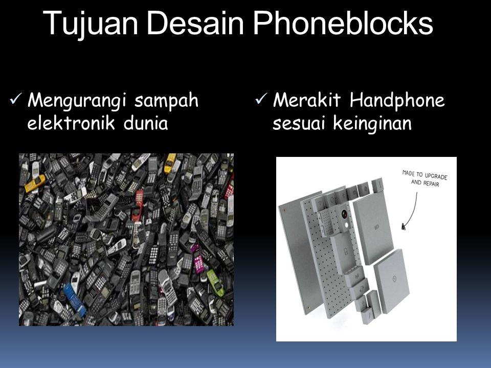 Tujuan Desain Phoneblocks Mengurangi sampah elektronik dunia Merakit Handphone sesuai keinginan
