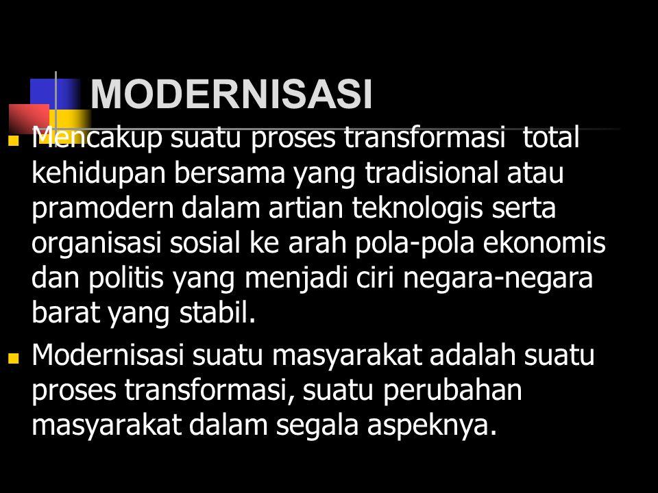 MODERNISASI Mencakup suatu proses transformasi total kehidupan bersama yang tradisional atau pramodern dalam artian teknologis serta organisasi sosial