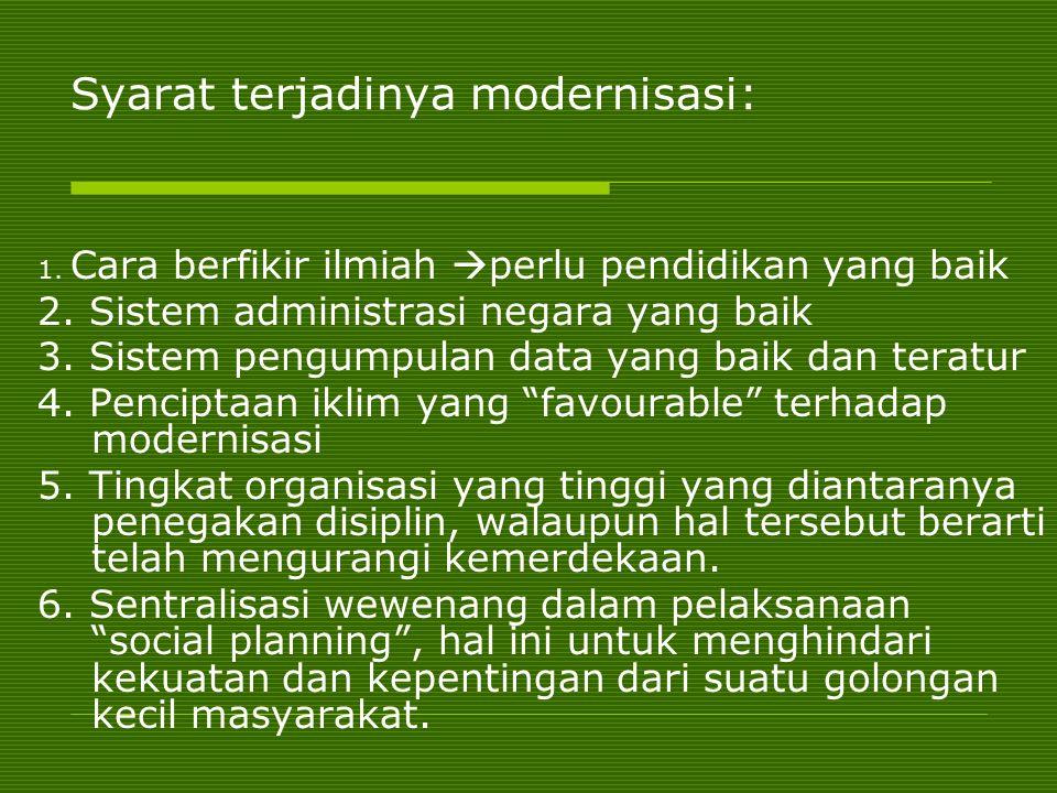 Syarat terjadinya modernisasi: Syarat terjadinya modernisasi: 1. Cara berfikir ilmiah  perlu pendidikan yang baik 2. Sistem administrasi negara yang