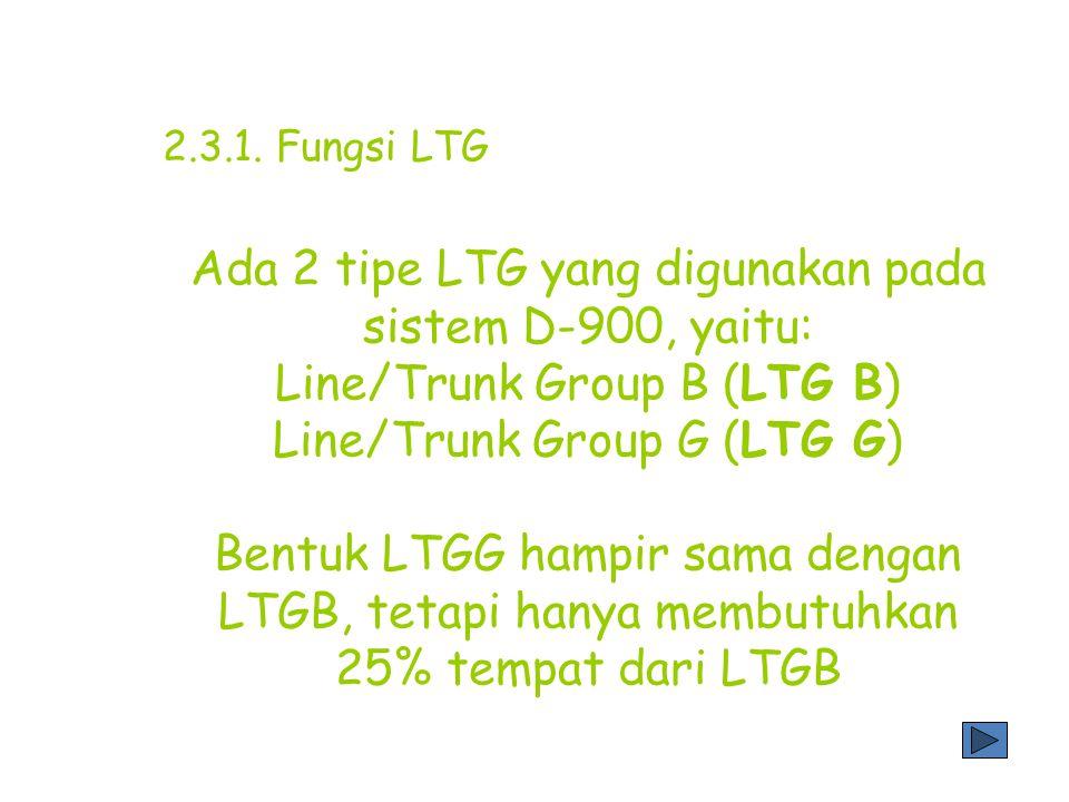 *Fungsi LTG sebagai pengaman -Mendeteksi kesalahan LTG -Mendeteksi kesalahan jalur internal sentral selama proses panggilan -Melaporkan kesalahan pada CP (coordination processor) -Mengevaluasi kesalahan dan menan- dai proses seperti mengeblok kanal jika kesalahan terjadi pada jalur PDC *Fungsi LTG sebagai pengoperasian -Melaporkan kepadatan data ke CP -Kondisi operasi ditampilkan melalui LED 2.3.1.