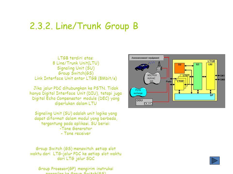 Ada 2 tipe LTG yang digunakan pada sistem D-900, yaitu: Line/Trunk Group B (LTG B) Line/Trunk Group G (LTG G) Bentuk LTGG hampir sama dengan LTGB, tetapi hanya membutuhkan 25% tempat dari LTGB 2.3.1.