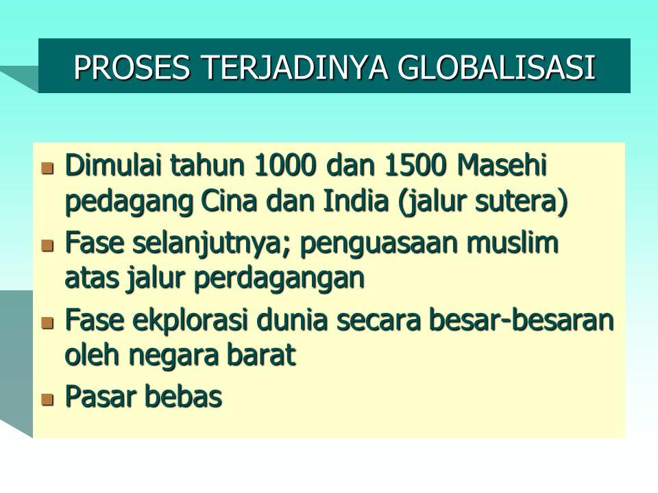 PROSES TERJADINYA GLOBALISASI Dimulai tahun 1000 dan 1500 Masehi pedagang Cina dan India (jalur sutera) Dimulai tahun 1000 dan 1500 Masehi pedagang Ci