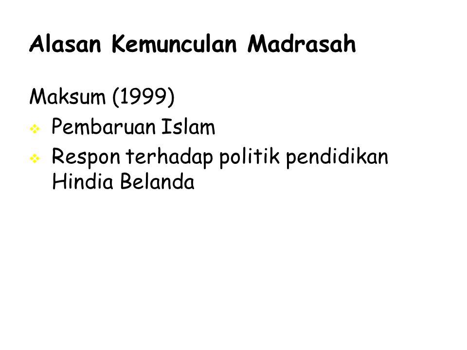 Alasan Kemunculan Madrasah Maksum (1999)  Pembaruan Islam  Respon terhadap politik pendidikan Hindia Belanda