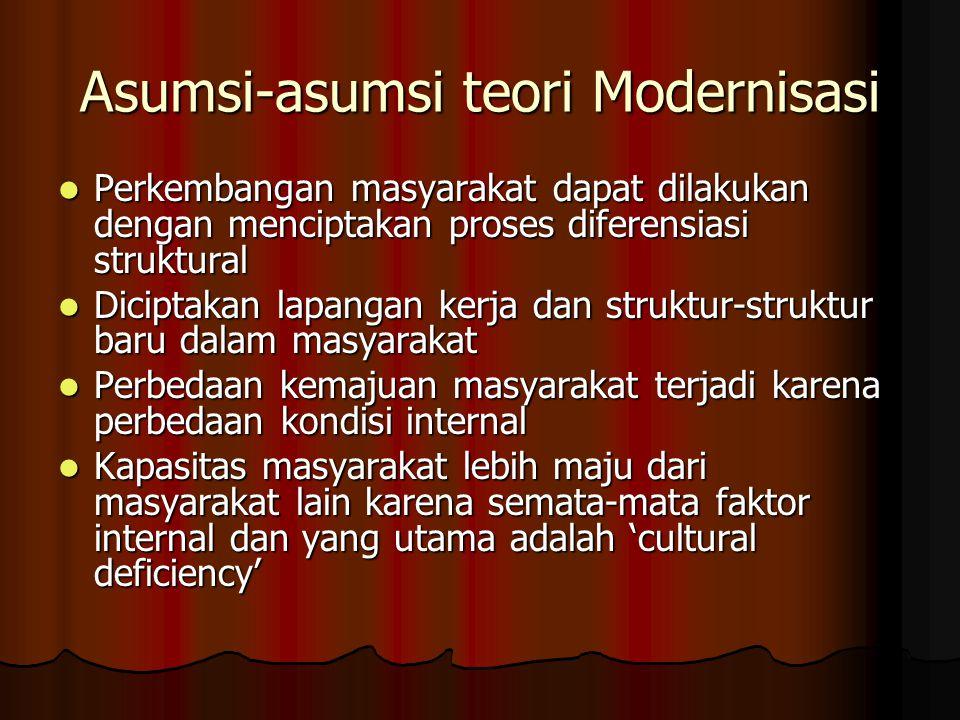 Asumsi-asumsi teori Modernisasi Perkembangan masyarakat dapat dilakukan dengan menciptakan proses diferensiasi struktural Perkembangan masyarakat dapa