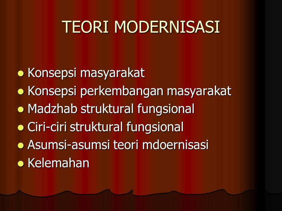 TEORI MODERNISASI Konsepsi masyarakat Konsepsi masyarakat Konsepsi perkembangan masyarakat Konsepsi perkembangan masyarakat Madzhab struktural fungsio