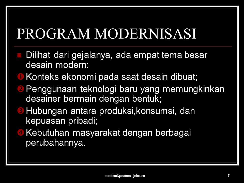 modern&postmo - joice cs7 PROGRAM MODERNISASI Dilihat dari gejalanya, ada empat tema besar desain modern:  Konteks ekonomi pada saat desain dibuat; 