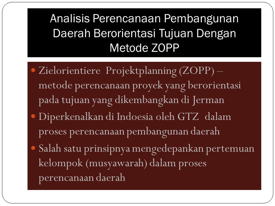 Analisis Perencanaan Pembangunan Daerah Berorientasi Tujuan Dengan Metode ZOPP Zielorientiere Projektplanning (ZOPP) – metode perencanaan proyek yang