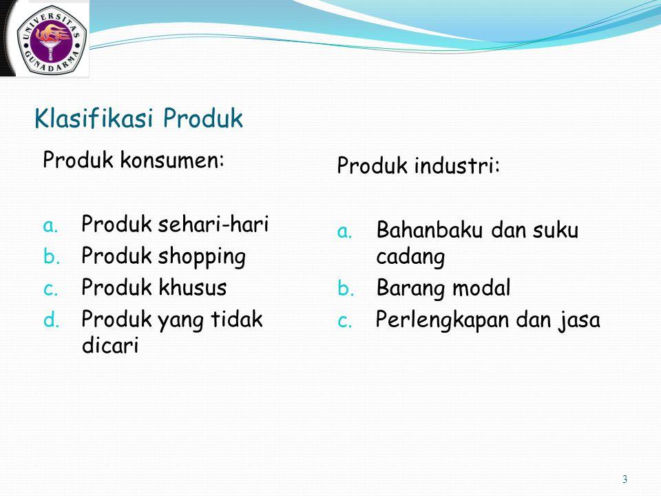 Klasifikasi Produk Produk konsumen: a. Produk sehari-hari b. Produk shopping c. Produk khusus d. Produk yang tidak dicari Produk industri: a. Bahanbak
