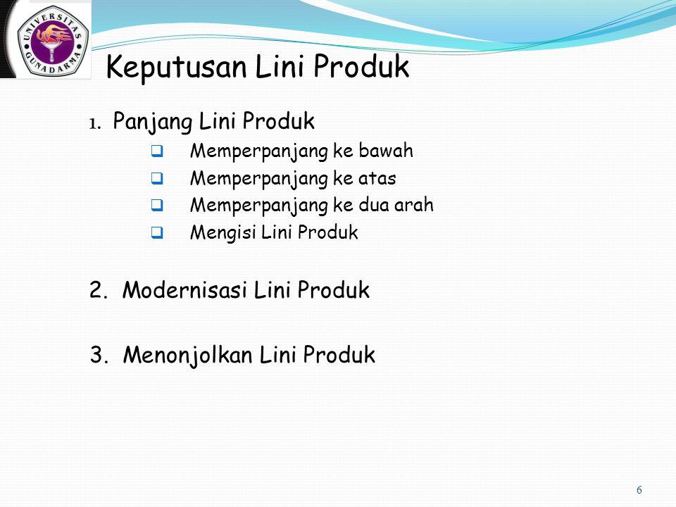 Keputusan Lini Produk 1. Panjang Lini Produk  Memperpanjang ke bawah  Memperpanjang ke atas  Memperpanjang ke dua arah  Mengisi Lini Produk 2. Mod