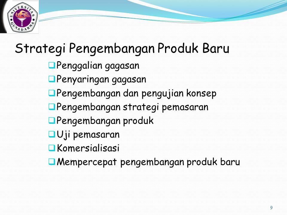 Strategi Pengembangan Produk Baru  Penggalian gagasan  Penyaringan gagasan  Pengembangan dan pengujian konsep  Pengembangan strategi pemasaran  P