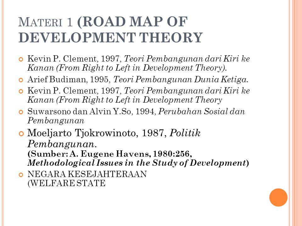 M ATERI 1 (ROAD MAP OF DEVELOPMENT THEORY Kevin P. Clement, 1997, Teori Pembangunan dari Kiri ke Kanan (From Right to Left in Development Theory). Ari