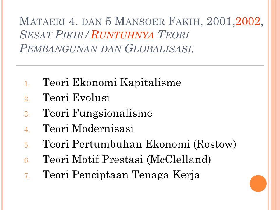 M ATAERI 4. DAN 5 M ANSOER F AKIH, 2001,2002, S ESAT P IKIR /R UNTUHNYA T EORI P EMBANGUNAN DAN G LOBALISASI. 1. Teori Ekonomi Kapitalisme 2. Teori Ev