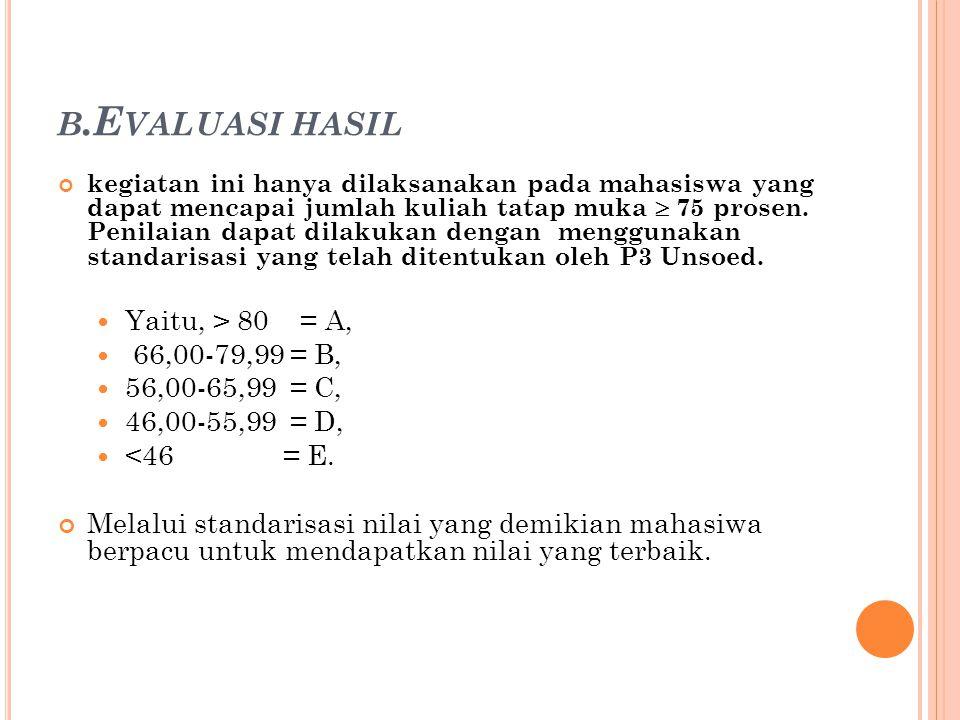 B.E VALUASI HASIL kegiatan ini hanya dilaksanakan pada mahasiswa yang dapat mencapai jumlah kuliah tatap muka  75 prosen. Penilaian dapat dilakukan d