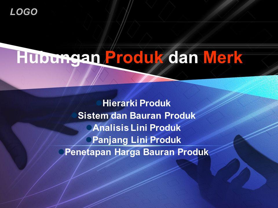 LOGO Hubungan Produk dan Merk Hierarki Produk Sistem dan Bauran Produk Analisis Lini Produk Panjang Lini Produk Penetapan Harga Bauran Produk