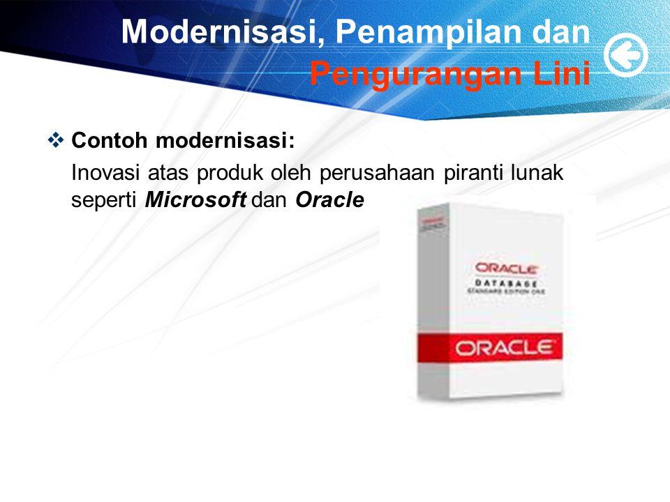 Modernisasi, Penampilan dan Pengurangan Lini  Contoh modernisasi: Inovasi atas produk oleh perusahaan piranti lunak seperti Microsoft dan Oracle