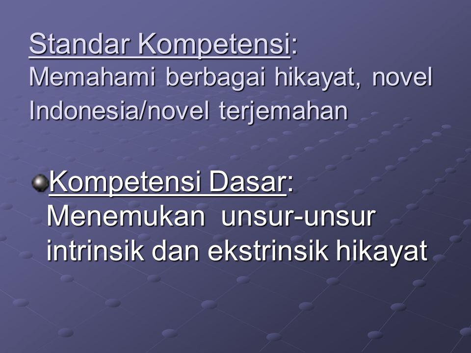 Standar Kompetensi: Memahami berbagai hikayat, novel Indonesia/novel terjemahan Kompetensi Dasar: Menemukan unsur-unsur intrinsik dan ekstrinsik hikay