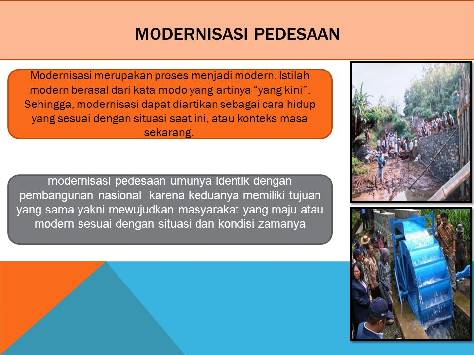 MODERNISASI PEDESAAN Modernisasi merupakan proses menjadi modern.
