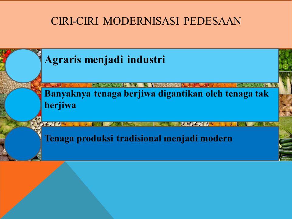 CIRI-CIRI MODERNISASI PEDESAAN Agraris menjadi industri Banyaknya tenaga berjiwa digantikan oleh tenaga tak berjiwa Tenaga produksi tradisional menjadi modern