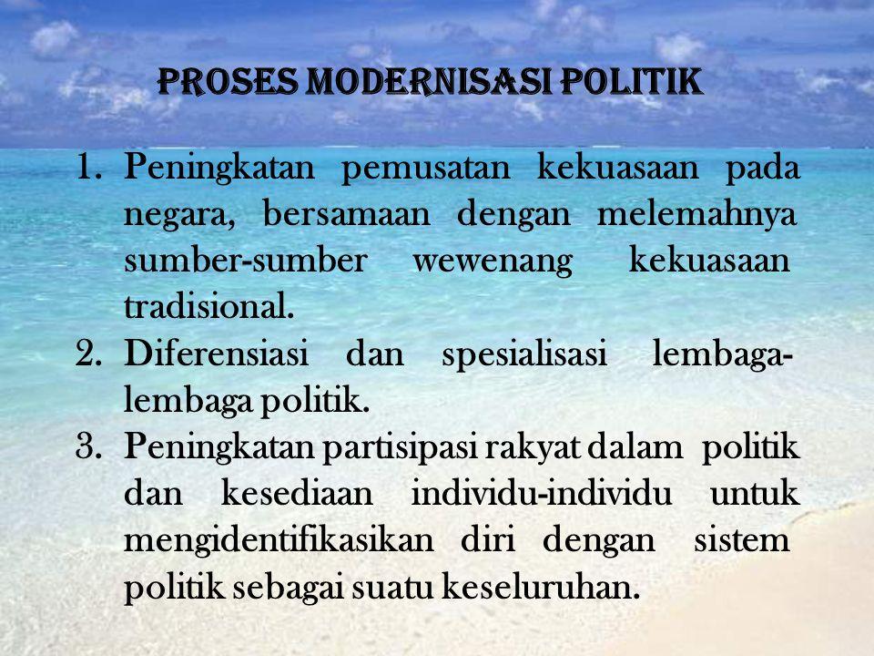 PROSES MODERNISASI POLITIK 1.Peningkatan pemusatan kekuasaan pada negara, bersamaan dengan melemahnya sumber-sumber wewenang kekuasaan tradisional. 2.