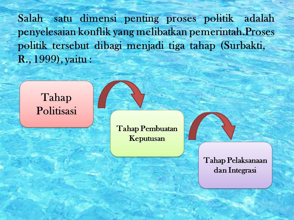 Salah satu dimensi penting proses politik adalah penyelesaian konflik yang melibatkan pemerintah.Proses politik tersebut dibagi menjadi tiga tahap (Su