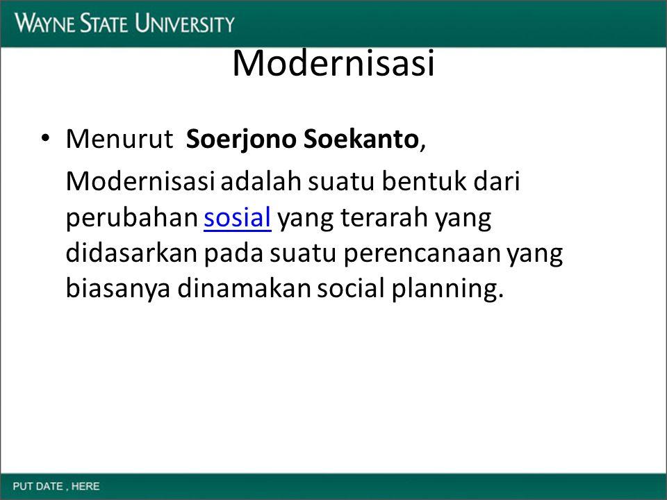 Modernisasi Menurut Soerjono Soekanto, Modernisasi adalah suatu bentuk dari perubahan sosial yang terarah yang didasarkan pada suatu perencanaan yang