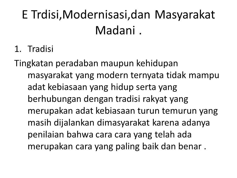 E Trdisi,Modernisasi,dan Masyarakat Madani. 1.Tradisi Tingkatan peradaban maupun kehidupan masyarakat yang modern ternyata tidak mampu adat kebiasaan
