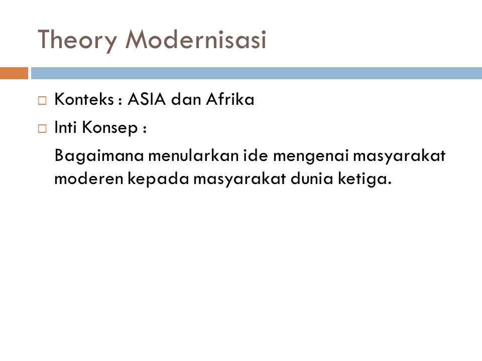 Theory Modernisasi  Konteks : ASIA dan Afrika  Inti Konsep : Bagaimana menularkan ide mengenai masyarakat moderen kepada masyarakat dunia ketiga.