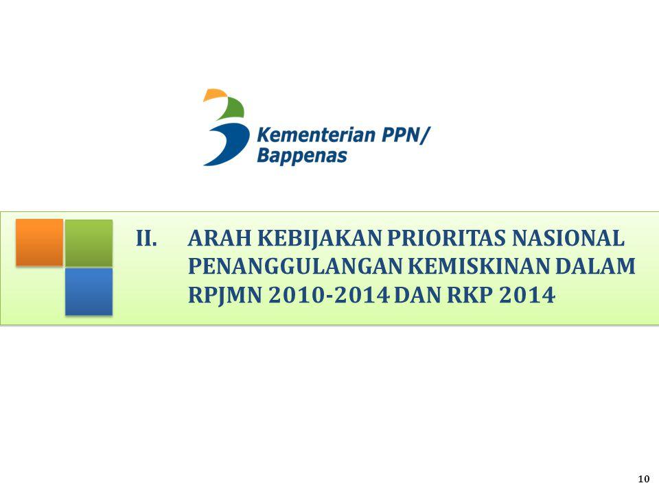 II.ARAH KEBIJAKAN PRIORITAS NASIONAL PENANGGULANGAN KEMISKINAN DALAM RPJMN 2010-2014 DAN RKP 2014 10