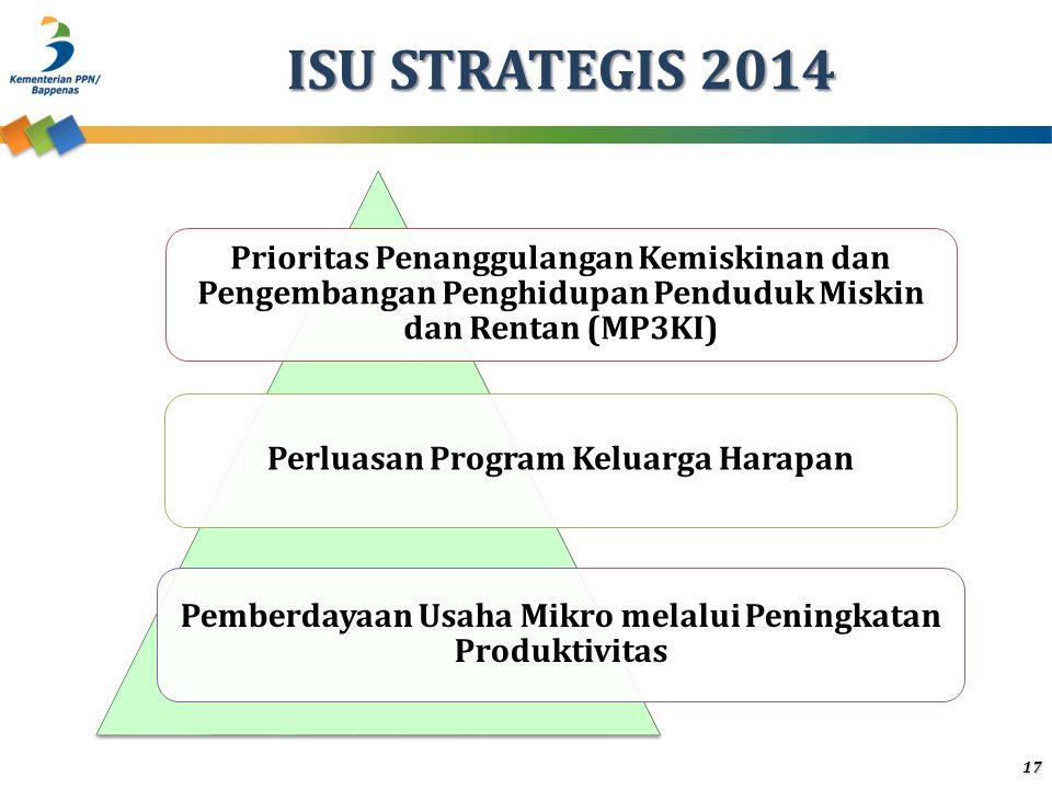 ISU STRATEGIS 2014 Prioritas Penanggulangan Kemiskinan dan Pengembangan Penghidupan Penduduk Miskin dan Rentan (MP3KI) Perluasan Program Keluarga Hara