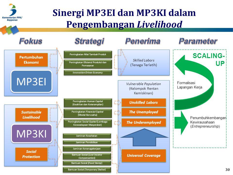 MP3EI MP3KI Social Protection Sustainable Livelihood Pertumbuhan Ekonomi Peningkatan Nilai Tambah Produk Peningkatan Efisiensi Produksi dan Pemasaran