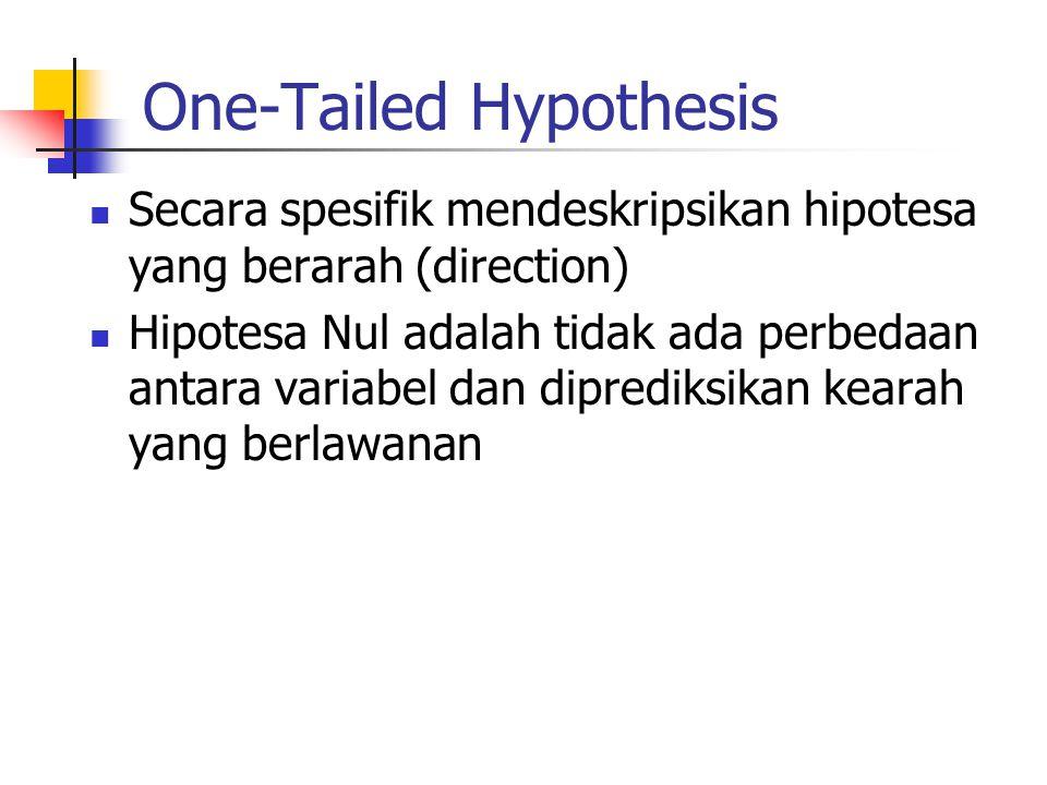 One-Tailed Hypothesis Secara spesifik mendeskripsikan hipotesa yang berarah (direction) Hipotesa Nul adalah tidak ada perbedaan antara variabel dan di