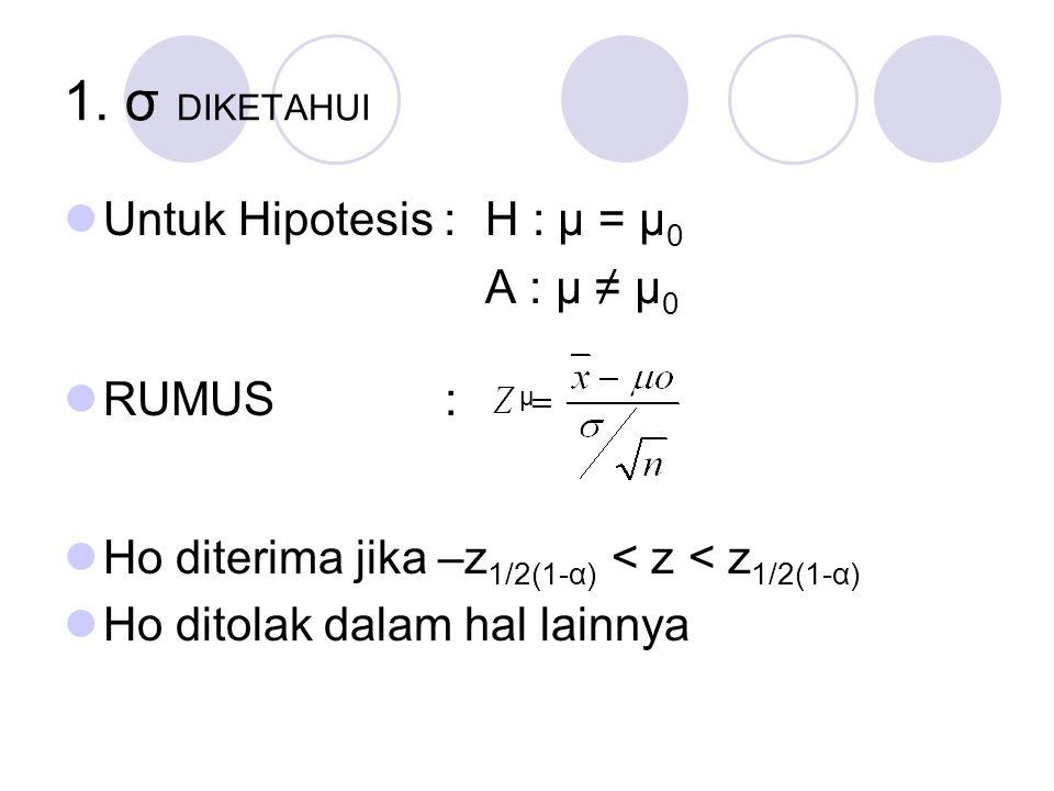 1. σ DIKETAHUI Untuk Hipotesis : H : μ = μ 0 A : μ ≠ μ 0 RUMUS : Ho diterima jika –z 1/2(1-α) < z < z 1/2(1-α) Ho ditolak dalam hal lainnya μ